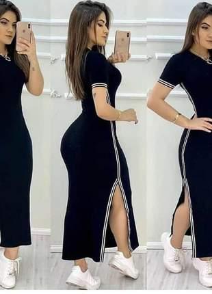 Vestido longo fenda lateral canelado casual