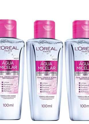 Kit 3 águas micelar solução de limpeza facial 5 em 1 l'oréal paris 100ml