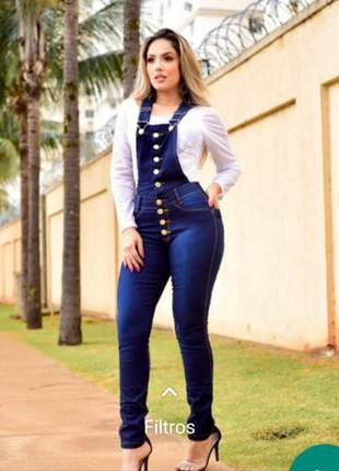 Macacão jardineira  longa jeans escuro