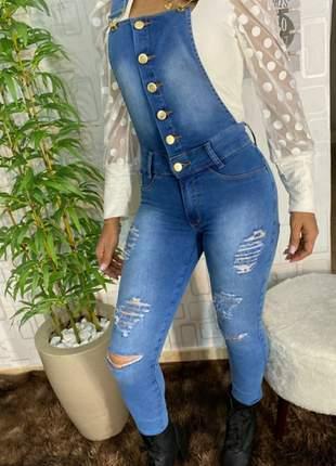 Macacão jardineira longa jeans claro