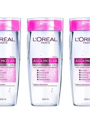 Kit 3 águas micelar solução de limpeza facial 5 em 1 l'oréal paris 200ml
