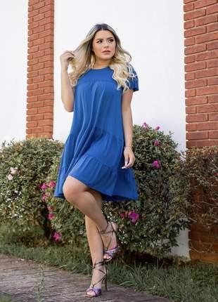 Vestido curto azul plissado rodado soltinho (de viscolycra sem bojo)