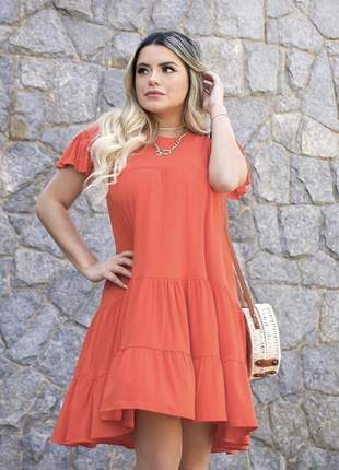 Vestido curto plissado soltinho rodado laranja (de viscolycra sem bojo)