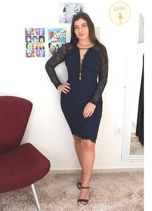 Vestido midi renda manguinha festa convidadas elegante moda evangélica decote azul marinho