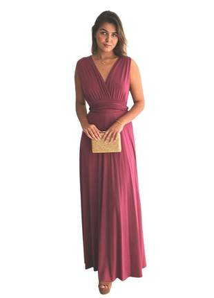 Vestido de festa longo barato multiformas casamento civil marsala rosê longo fluity