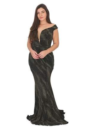 Vestido longo preto de luxo noite de festa formatura brilho bojo ombro formatura casamento
