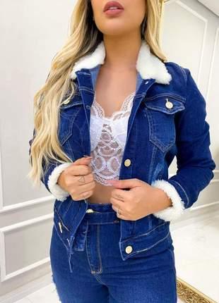 Jaqueta jeans feminina pelo manga e gola pelucia