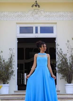 Vestido de festa longo fluido modelo princesa casamento civil madrinhas azul