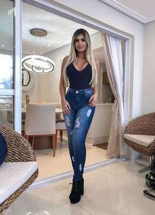 Calça jeans feminina devore com lycra