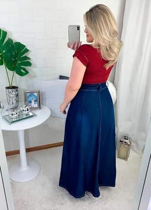 Saia longa jeans evangélica cintura alta feminina gospel