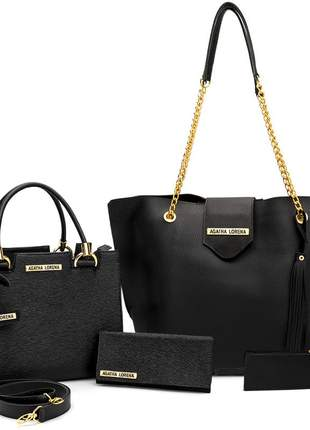 Kit bolsa feminina castelo + bolsa sacola grande +carteira preta