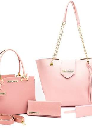 Kit bolsa feminina castelo + bolsa sacola grande +carteira rosa
