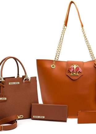 Kit bolsa feminina castelo + bolsa sacola grande +carteira caramelo