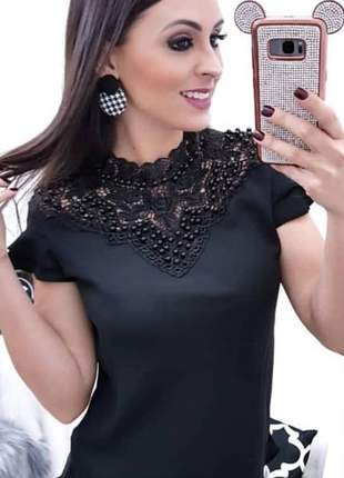 Blusinha de crepe cor preta - vm-7009-preta