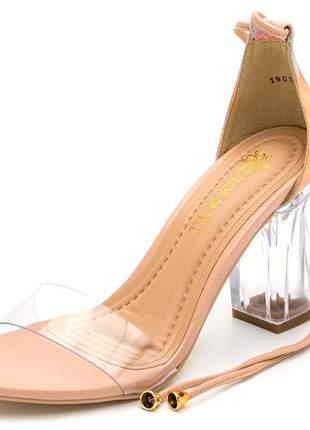 Sandália tira e salto grosso transparente nude tiedye amarrar perna