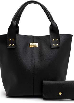 Bolsa feminina preta com carteira