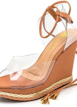 Sandália anabela transparente nude cintilante amarrar perna