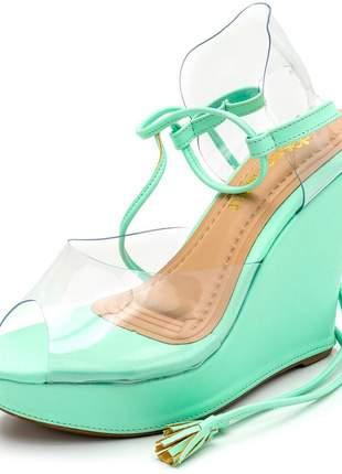 Sandália anabela transparente verde bebe amarrar na perna