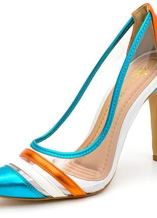 Sapato scarpins salto alto fino transparente laranja e azul metalizado