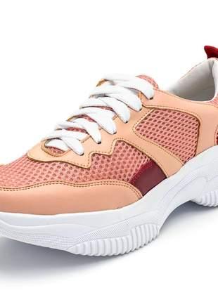 Tênis sneakers chunky recortes nude rosa e napa bordo