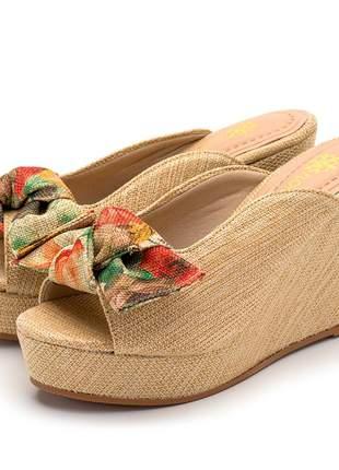 Sandália tamanco salto médio juta bege laço removível floral