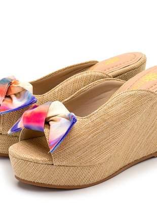 Sandália tamanco salto médio juta bege laço removível tie dye