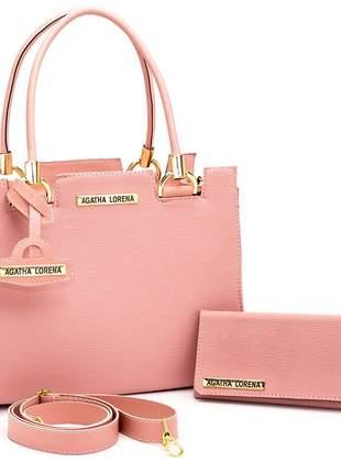 Kit bolsa feminina castelo + carteira rosa