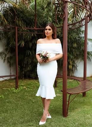 Vestido midi ombro a ombro festa casamento civil batizado noivado branco off |ana|