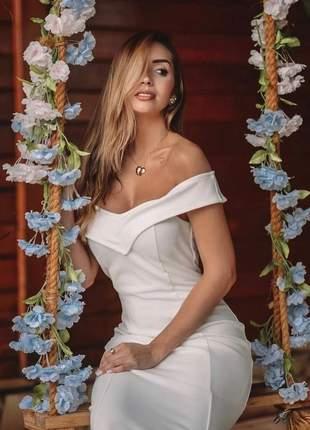 Vestido midi ombro a ombro tubinho casamento civil noivado batizado branc off |bia|