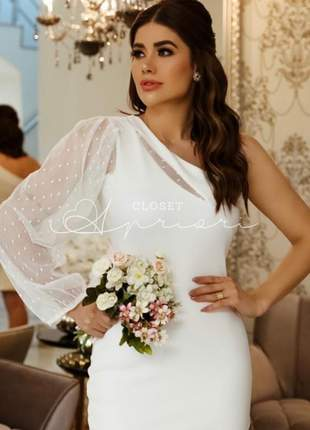 Vestido curto festa um ombro só casamento civil noivado batizado colação |evelyn|