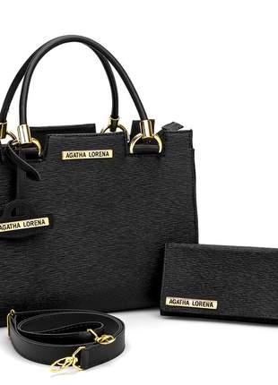Kit bolsa feminina castelo + carteira preta