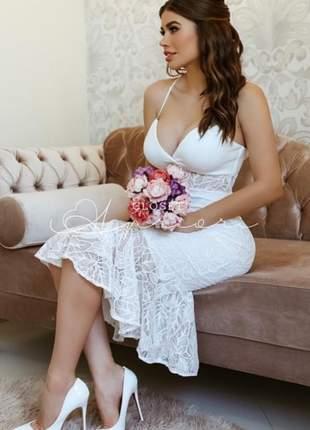 Vestido midi  renda casamento civil noivado batizado |elena|