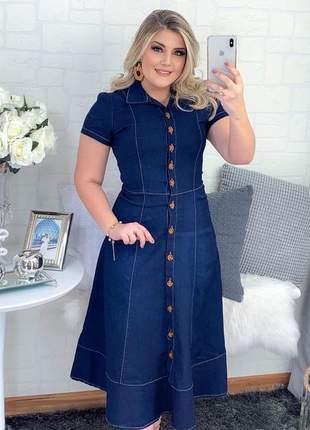Vestido jeans longuete moda cristã evangélica