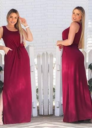 Vestido longo soltinho gestante rodado casual