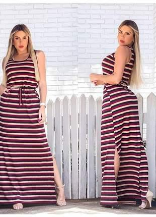 Vestido longo soltinho fenda lateral gestante casual