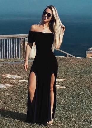 Vestido longo fenda dupla