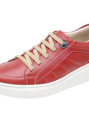 Tênis pierrô calce fácil conforto couro legítimo cor rubi