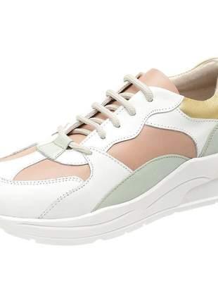 Tênis dad sneakers pierrô couro legítimo