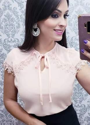 Blusinha de crepe e renda gripir cor rose - vm-7003-rose