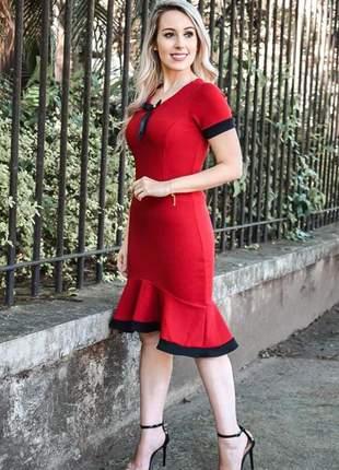 Vestido sereia em crepe de malha cor vermelho e preto - vm-9010-vermelho