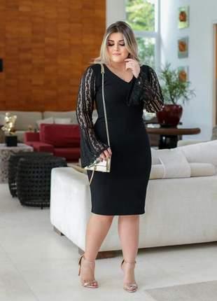Vestido preto festa midi manguinha moda evangélica justo convidadas manga renda