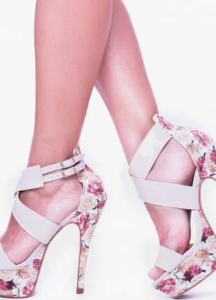 Sandália salto alto fino florido meia pata n° 37