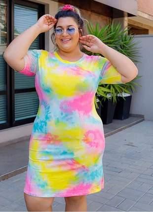 Vestido tie dye moda plus size verão 2020