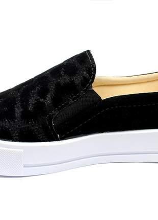 Tenis feminino preto animal print onça oncinha brilho