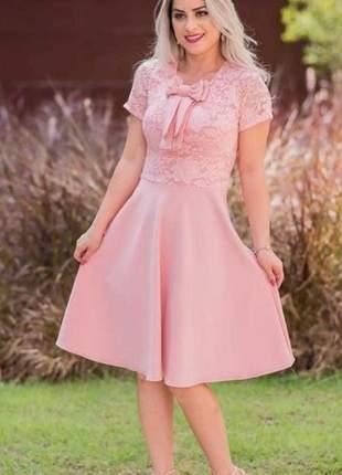 Vestido evasê em renda e crepe de malha na cor rosê - vm-9006-rosê