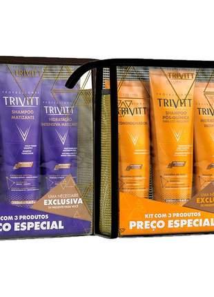 Kit itallian trivitt hidratação + kit blonde matizante + leave-in 250ml (7 produtos)