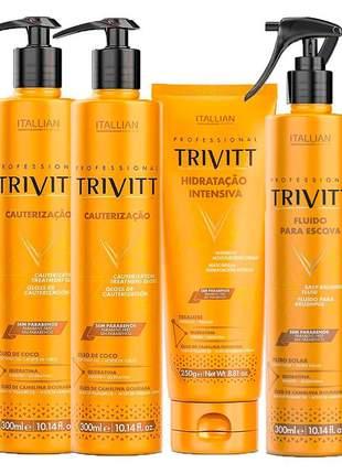 Combo trivitt 2 cauterização + hidratação + fluído para escova