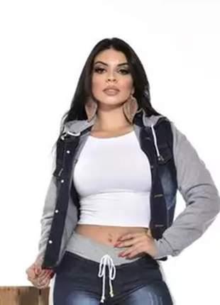 Jaqueta jeans com moletom capuz moda feminina