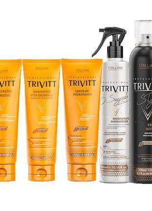 Kit trivitt profissional reparação pós-química (8 itens)