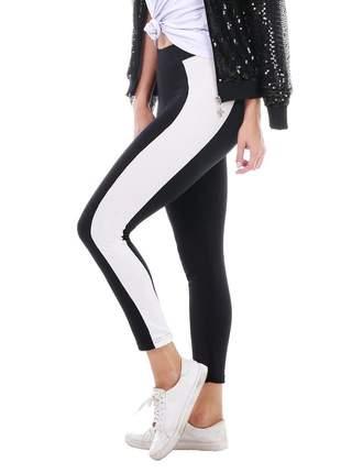Calça legging preta com listra contrastante